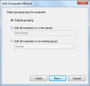 Select grouping for computers