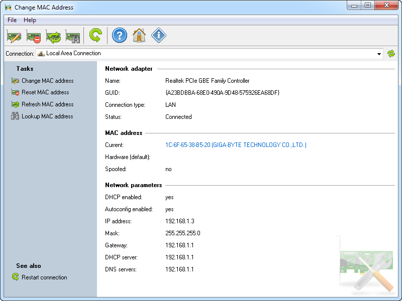 Change MAC Address by LizardSystems Screen shot