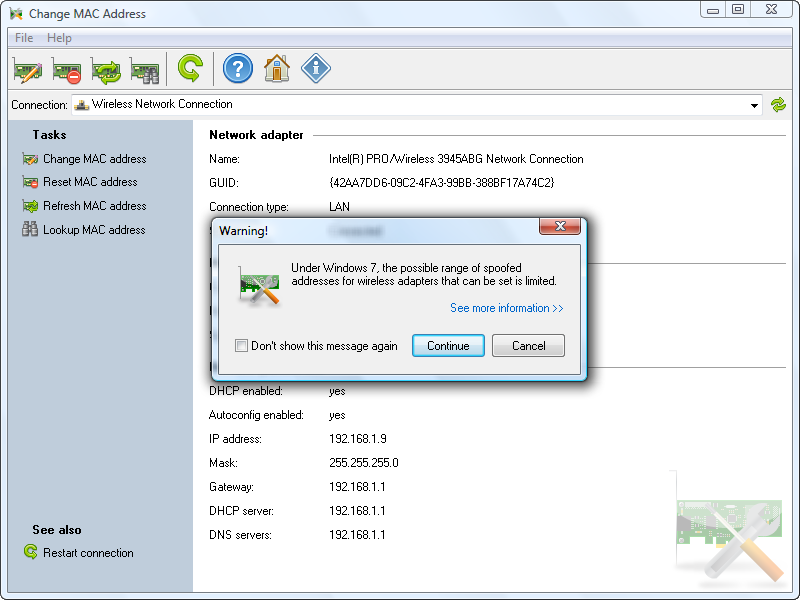 Change MAC address in Windows 7 or later for wireless